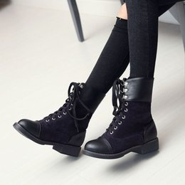 Purple Martin Boots Australia - 2018 new Fashion Motocycle booties Women Boots Botas Female Womens Ankle Boots Square Heel Martin Boots Autumn Shoes size 34-43
