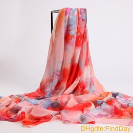 cape scarfs Canada - Autumn and winter spring and autumn elegant silk scarf big design chiffon long scarf cape scarf dual beach towel