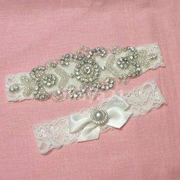 Ingrosso Giarrettiera da sposa nuziale rustico set accessori da sposa in rilievo di cristallo perlato in pizzo giarrettiera bianca giarrettiera da sposa
