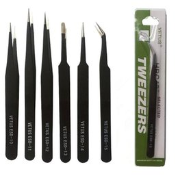 Barato Pinças Para Cílios-Black VETUS Tweezers Stainless Steel Antiestático Nipper ESD 10 11 12 13 14 15 Para reparação telefônica Eyelash Extension And Cliping Diamond Tools