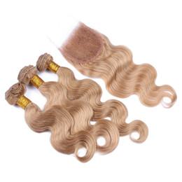 $enCountryForm.capitalKeyWord NZ - 8A Peruvian 27 Honey Blonde Hair With Lace Closure 27 Blonde Body Wave Human Hair 3 Bundles With Top Closure