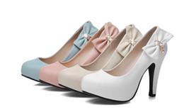 Fine Princess Shoes Canada - Elegant and sweet bow tie high heel shoes round head waterproof table fine heel princess single wedding shoes