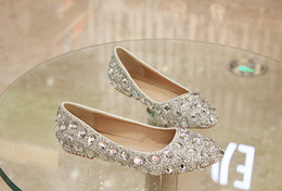 Barato Casamento Diamantes-2016 Flat Low Heels Crystal Wedding Shoes Silver Handmade Rhinestone Diamond Elegant Bridal Dress Shoes EUR Tamanho 35-41