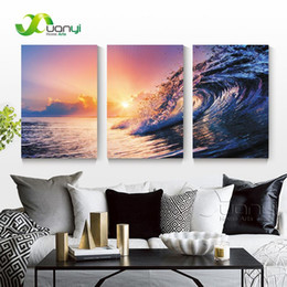 Art Canvas Prints Australia - 3 Panel Sunset Seascape Sea Wave Oil Canvas Painting Wall Art Picture For Living Room Modern Printing Unframed PR1286