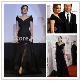 Vintage Car Prints NZ - Angelina Jolie dress car-styling new hot&sexy v-neck black long evening dress 2018 floor-length red carpet celebrity dresses