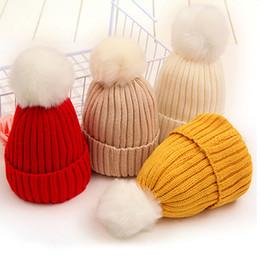 e96f43db462 Winter Children Faux Fur Pom Pom Knitted Hats Kids Boys Girls Solid Wool  Beanies Skullies Cap