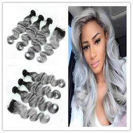 $enCountryForm.capitalKeyWord Canada - Malaysian #1B Grey Ombre Hair Weave With 4*4 Lace Closure 3Pcs Wavy Dark Root Silver Grey Virgin Hair With Lace Closure 4Pcs Lot