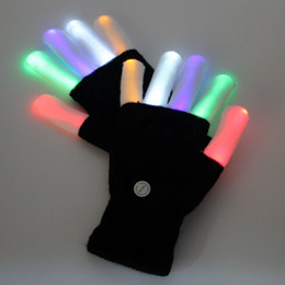 glow party decorations UK - 100pcs KTV Club Party Dance Halloween Flashing LED Flash Gloves Finger Light Up Glow gloves Fancy Dress Light Show Christmas festive