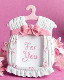 Azul Rosa Bonito Cabide Photo Frame Favores Do Chuveiro Do Bebê Placeard Titulares T Bonito Camisa no Gancho Do Casamento Do Favor Moldura Da Foto WT025 venda por atacado