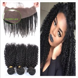 Discount 7a grade peruvian curly hair - 7A+ Grade Peruvian Kinky Curly Human Hair With Frontals 4Pcs Lot Peruvian Kinky Curly Lace Frontal Closure 13x4 With Wea