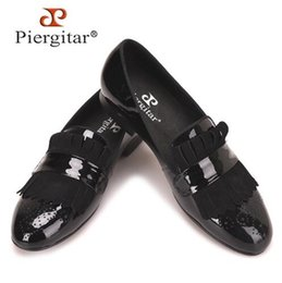 Handmade suede sHoes online shopping - Piergitar new style Handmade Men Black Patent Leather shoes with Classical Brogue Printing and Suede Fringe Party men loafers size38