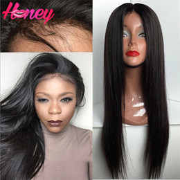 $enCountryForm.capitalKeyWord Canada - Human Hair Lace Front Wigs Unprocessed Virgin Brazilian Full Lace Silky Straight Human Hair Wigs For Black Women Natural Hairline Hot Sell