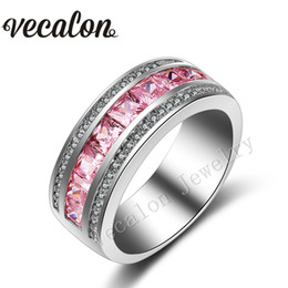 $enCountryForm.capitalKeyWord Canada - Vecalon New Pink sapphire Simulated diamond Cz Wedding Band Ring for Women 10KT White Gold Filled Female Engagement Band Sz 5-11