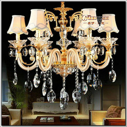 $enCountryForm.capitalKeyWord NZ - European Golden Crystal Chandelier with 6 Glass Arms Cristal Lustres for living room with Fabric Lampshades MD88006 Free Shipping
