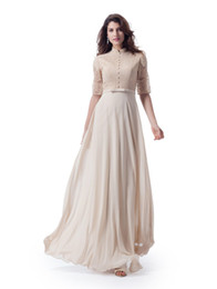 white chiffon tops for wedding dresses NZ - Champagne Lace Top Chiffon Long Modest Bridesmaid Dresses With High Neck Sheer Sleeves A-line Vintage Formal Wedding Party Dress For Modest