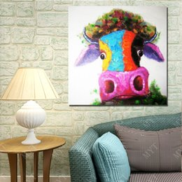 $enCountryForm.capitalKeyWord Canada - Hand painted Cartoon Oil Painting On Canvas Colorful Cows Head Wall Pictures Abstract Modern Canvas Wall Art Living Room Decor Picture