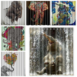 2018 Bath Curtain Hooks Elephant Polyester Shower Curtains Cute Animal Digital Printed Bathroom With Hook