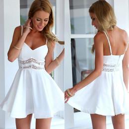 b74da37e38bb New Summer Stitching Lace Halter Suspenders Big Swing Party Dress Women  Casual V Neck Beach Dress Sleeveless Mini Dress