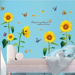 $enCountryForm.capitalKeyWord Canada - Large Size Sunflower wall stickers bedroom living room background adornment waterproof PVC wallpaper can be removed