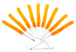 China 9 pcs Lock Pick Tools locksmith lock extractor set with Yellow Color Transparent Handle suppliers