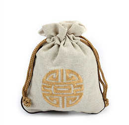 $enCountryForm.capitalKeyWord UK - Large Ethnic Craft Cotton Linen Packaging Bags for Jewelry Storage Necklace Bracelet Travel Bag Chinese Embroidery Joyous Gift Pouch 16 x 19