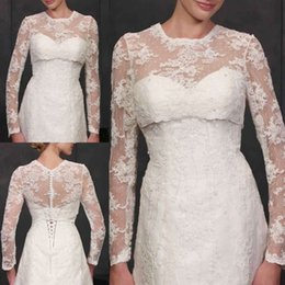 Encogimiento De Encaje Baratos-Mangas largas de alta calidad Wedding Bolero Jacket Lace Jewel Neck Hechas a medida Sheer Wedding Wraps Shrugs Botones Back Bridal Stole