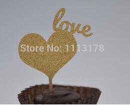 $enCountryForm.capitalKeyWord Australia - Custom personality 30pcs Heart Gold Glitter Cupcake Toppers - Birthday, baby shower wedding Party Decoration Supplies Event