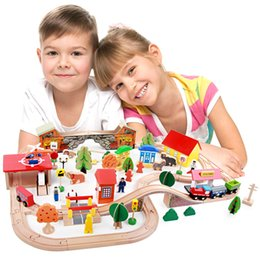 Toys Cranes Canada - 89 pcs Luxury Wooden Track Toys Set Car Scooter Train TRAIN STATION GAS Aircraft Crane Windmill Motor People Tree Animals Funy Wood Gift