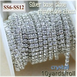 Silver Rolled Chain Australia - 10yards roll clear crystal SS6-SS12(2mm-3mm) silver base Rhinestone Chain apparel Sewing style diy beauty accessories