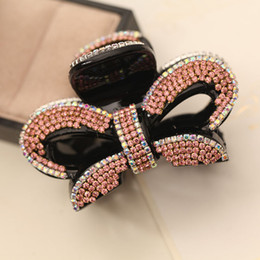 Crystal Plastic Hair Clip Australia - New bowknot barrettes for women Lady favorite Hair clips Hot sales wholesales clamps full crystal rhinestone free shipping Luxury Jewelry