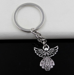 $enCountryForm.capitalKeyWord Canada - Hot sell 12pcs lot DIY Accessories Antique silver Zinc Alloy Angel Band Chain key Ring Keychain