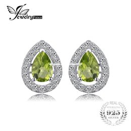 pear studs NZ - JewelryPalace Pear 0.9ct Natural Peridot 925 Sterling Silver Stud Earrings Waterdrop Shape Fine Jewelry Fashion Women Earrings