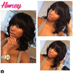 $enCountryForm.capitalKeyWord Canada - Glueless Lace Front Human Hair Wigs Brazilian Virgin Hair Body Wave Full Lace Wig With Bangs Bleached Knots For Black Women