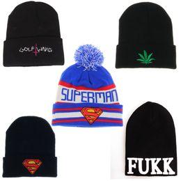 de7e5f16284e GOLF WANG superman Beanies hats autumn winter knitted woolen hat fashion  hip hop hip-hop hat cap outdoor hat ski cap warm hats