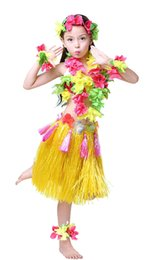 Robe Hawaïenne Enfants Pas Cher-Hawaiian Hula Dance Costume Ballet Show Cosplay Dress Skirt Garland pour enfants 40CM Ensembles complets