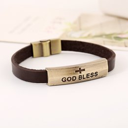 Chinese  God Bless Sign Bracelet Leather Jesus Bracelets Charms Bracelets Bracelets Leather Cross Clasp Alloy Metal DHL manufacturers
