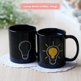 heat change mugs NZ - DHL shipping free 48pcs promotional gifts lamp bulb ceramic heat sensitive color changing coffee mug tea cups