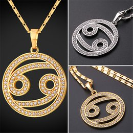 U7 New Zodiac Charms CANCER Pendant Necklace Simple Women Men Jewelry Gift  Rhinestone Gold Platinum Plated Necklace Perfect Gifts P2506 3a527d8a0208