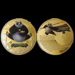 $enCountryForm.capitalKeyWord NZ - 10 pcs Hollywood Kung Fu movie star Animal hero KungFu Panda animal gold plated souvenir coin 40 mm OD