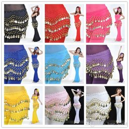 Barato Cinto De Dança-50pcs Egito Belly Dancing Hip Skirt Scarf Wrap Belt Costume Belly Dança cintura Cadeia decoração cachecol avental 12 cores 3Rows 128 moedas DHL