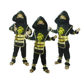 Robe De Fête Pour Garçon Pas Cher-Halloween Kids Ninja Costumes Halloween Party Boys Girls Guerrier Stealth samouraï Cosplay Assassin costume costume fantaisie