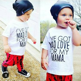 $enCountryForm.capitalKeyWord Canada - Hooyi Fashion Baby Boys Clothing Set White T-Shirt + Long Red Pant Suit Cotton Kids Clothes Suit Outfits Got Mad Love For Mama Short Sleeve