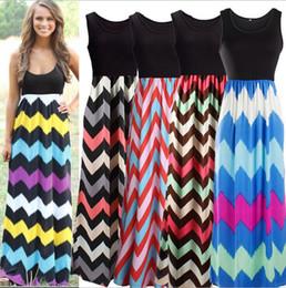 c3374f3b5d Sleeveless Wave Striped Printed Long Dress Summer Stylish Women Bohemia Dress  Beach Party Women Maxi Dresses OOA3100