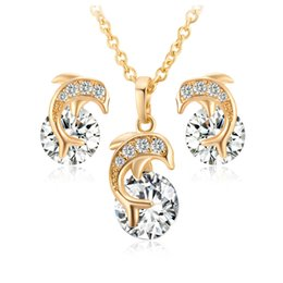"""$enCountryForm.capitalKeyWord NZ - Kids Jewelry Sets 18K Yellow Gold Plated Crystals CZ Cluster Cute Dolphin Stud Earrings 18"""" Chain Pendant Necklace for Children Girls"""