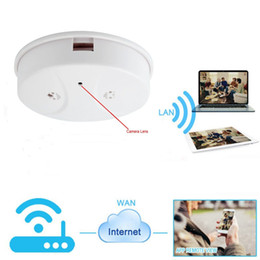 P2P smoke detector wifi camera online shopping - Wireless camera Smoke Detector HD ip Camera wifi DVR support iphone Android P2P network Security surveillance camera