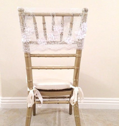cheap white wedding chair covers UK - 2016 Lace 3D Flower Wedding Chair Sashes Vintage Romantic Chair Covers Floral Wedding Supplies Cheap Wedding Accessories 02
