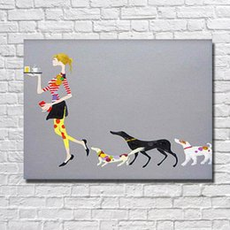 Designer Home Goods Cartoon Women And Dog Oil Panting Hand Made Abstract  Decoravie Paintings For Living Room