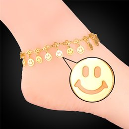 $enCountryForm.capitalKeyWord Canada - U7 Smiling Face Anklet Bracelet Summer Jewelry Foot Bracelet For Women 18K Real Gold Platinum Plated Barefoot Sandals A932