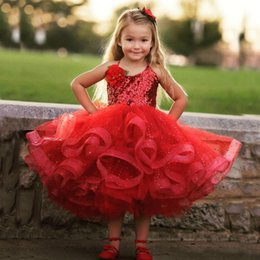 Barato Crianças Sequin Tops-Vestidos Lovely Pageant Girl 2017 Puffy Girl Red Formal Vestidos Halter Neck Sleeveless Bling Bling Sequins Top Crianças Wear Handmade Flores
