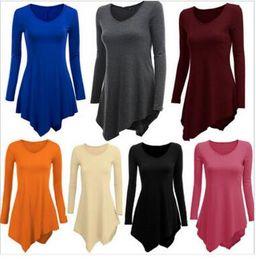 $enCountryForm.capitalKeyWord Canada - Newest Women Clothes Cotton Dress 2016 Hot Women's Plus Size Long Sleeve Tunic Top V Neck Loose Irregular T-Shirt Dresss S-XXL WY7040